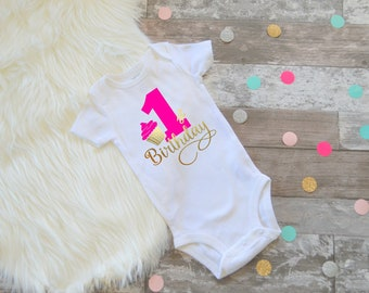 First birthday shirt cupcake first birthday first birthday gold and pink first birthday cupcake 1st birthday cupcake outfit cupcake Hot pink