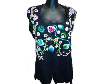 Multicolor Irish Crochet Top Irish Lace Blouse Irish Croshet Top
