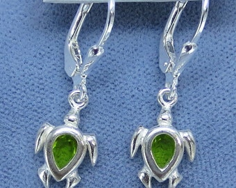 Green CZ Tiny Sea Turtle Leverback Earrings - Sterling Silver - 010879 - Free Shipping to the USA