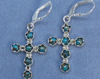 Mojave Blue Copper Turquoise Cross Leverback Earrings - Sterling Silver - 181616 - Free Shipping to the USA