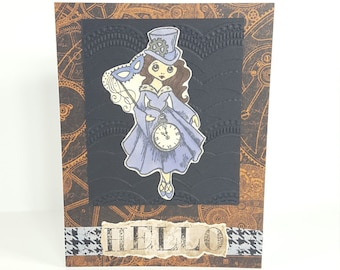 Hello Handmade Greeting Card | Steampunk Inspired Greeting Card | Hello Friend Card | Best Friend Card | Blank Card for Any Occasion