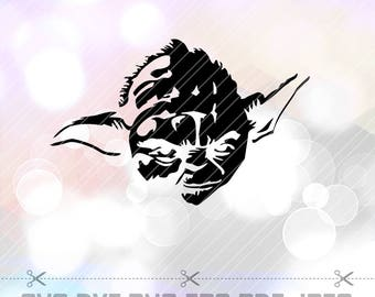 Star Wars Master Yoda SVG DXF Png Vector Cut File Cricut Design Silhouette Cameo ScanNcut etc Stencil Decal Vinyl Heat Transfer Iron Paper