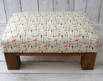 Nursery ottoman arrows tribal décor - nursery decor pouf - upholstered footstool kids room -  childrens room furniture fabric footstool