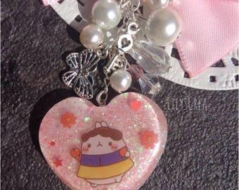Keychain resin cute Snow Bunny in a heart