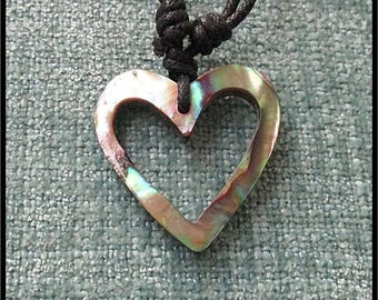 "PAUA SHELL NECKLACE - with 1.25"" (30mm) ""open heart"" paua shell pendant - adjustable size necklace"
