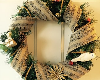 Holiday Wreath (Gold- music notes)