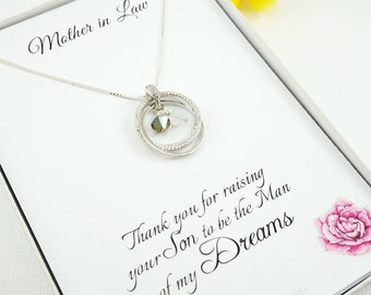 Mother-in-law Jewelry, POEM Card,  Gift for Mom, 30th Birthday gift, 30th Birthday gift for her, 3 Linked rings necklace, SSDN102A