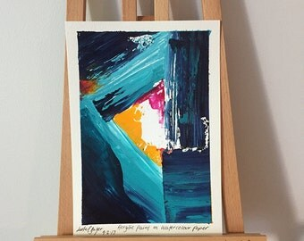 Remnant II - Original Abstract Acrylic Painting on A5 Watercolour Paper