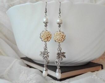 Pearl Earrings, Boho Earrings, Cluster Earrings, Dangle Earrings, Chandelier Earrings, Flower Earrings, Long Earrings, Romantic Earrings