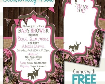 Hunting Camo Baby Shower Invitation - Digital File or Prints - Light Pink or Pale Blue