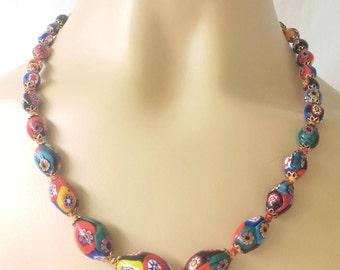 "Antique Rare Venetian Murano Oval Millefiori Bead Flapper Necklace Stunning 20"""