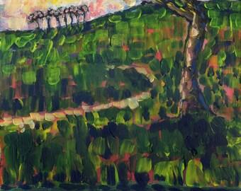 Trees Original Acrylic painting. Afternoon. Moor. Dusk. Cornish Original Art.