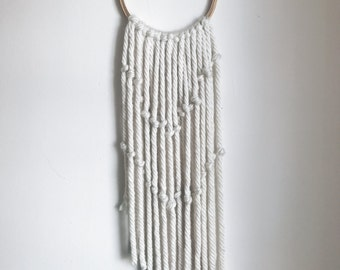 wooden hoop with white knotted yarn wall hanging / wall art / wall tapestry