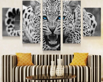 White Leopard- split framed canvas print