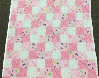 Super Soft Hand Quilted Patchwork Baby Quilt Crib Quilt Minky Flannel Ballerina