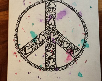 Acrylic and Watercolor Peace Sign Made of Hearts Painting on Flat Canvas