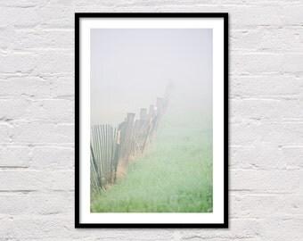 Spring Fog Print, Landscape Digital Print, Printable Wall Art, Minimalist Modern Decor, Green Art Prints, Instant Download
