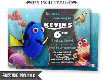 Finding Dory Invitation, Finding Dory Birthday Invitation, Finding Nemo Invitation, Finding Dory, Invites, Personalized, Printables