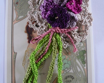 Retro-Style  Crochet Corsage with Dainty Violet and Mauve Flowers