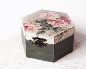 Wooden Storage Decoupage Box Handmade Jewelry Keepsake Dark Grey Box With Pink Roses Rustic Wood Decoration Home Decor