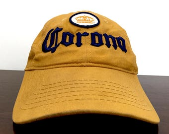 Corona Beer Vintage Trucker Hat / Corona Beer Trucker Hat Vintage Dad Hat / Gold & Blue Corona Baseball Cap Made in Mexico Hipster Clothing