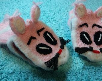 pink kitten gloves(free shipping)
