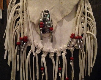 Southwestern Style White Deerhide Bag with Pony Beads and Abalone