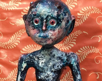 "Pink and Blue Paper Clay Art Doll ""Carrot"" OOAK"