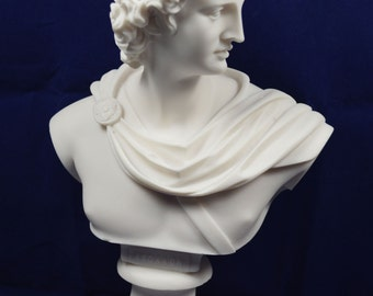God Apollo bust sculpture ancient Greek God of sun and poetry