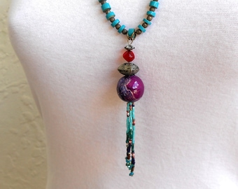 Tassel Necklace Boho Necklace Long Necklace Statement Ethnic Tibetan Jewelry Beaded Bead Turquoise Wood Hippie Jewellery FREE SHIPPING !!
