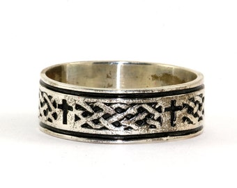 Vintage Mens Celtic Design Cross Engraved Band Ring 925 Sterling Silver RG 246