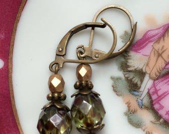 Green gold earrings - Bronze earrings - Czech glass jewellery - Drop dangle earrings - Vintage style - Dainty earrings - Gift for her