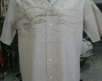82- Iolani Aloha Hawaiian shirt Medium 55/45 cotton blend Made in Hawaii Windsurfer sailing sea