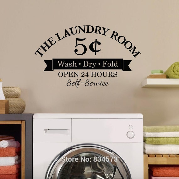 Vinyl Wall Decal - Laundry Room Wash Dry Fold Wall Art Stickers Wall Decal Home DIY Decoration Decor Wall Mural Removable Room Decor Wall