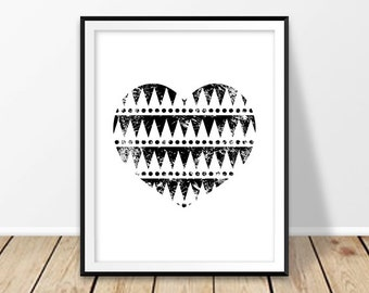 Black and white abstract art, Love poster, Digital print, Bohemian poster, Print tribal, Native art, Instant Download, Aztec heart, Retro