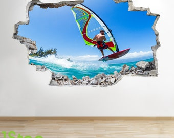 Windsurfing Wall Sticker 3d Look - Boys Kids Bedroom Extreme Sport Wall Decal Z135