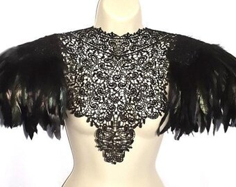 Black feather epaulettes. Steampunk black lace collar with feather shoulder pads. Burning Man. 'Body Tattoo'