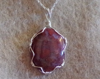 Red agate wire wrapped necklace