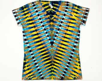 Women's Small Brown and Blue Cascading V Tie Dye T-Shirt