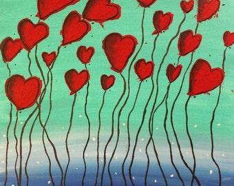 Acryllic painting - Large hearts