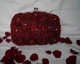 Evening bag. Burgundy handmade crochet bag