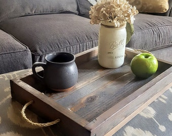 Simple wood farmhouse tray with rope handles-gray stain