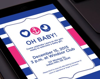 OH BABY Shower Email Invitation / Digital Invite / Made to Order / Custom