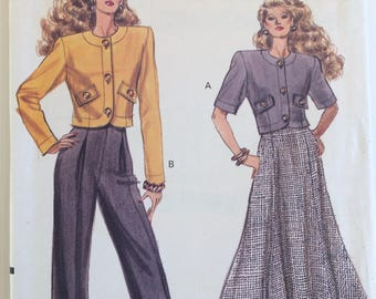 Vogue sewing pattern 7569 - Misses' petite jacket, skirt and pants size 6-8-10 - vintage 1980's