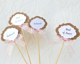 Bridal Shower decoration, Rustic Cake toppers, Bridesmaid Sign, Maid of Honor topper, Wedding Picks, Table decor, Wedding party deco, Script