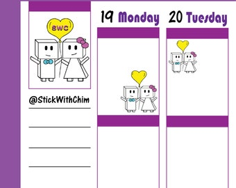 Bow & Tie - Stick With Chim Robot Couple | Cute Couple Planner Stickers | Perfect for planners and calendars | R101