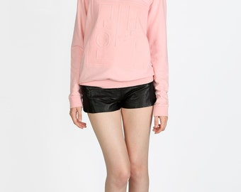 Sweatshirt unisex pink double collar and logo relief Modern Hanbok