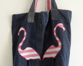 Flamingos and jean bag