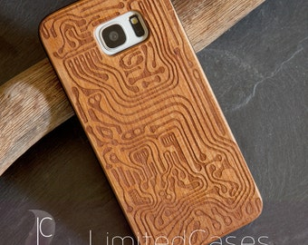 """Case for Samsung Galaxy S7 edge with cherry Edition, laser-engraved """"Trace"""""""