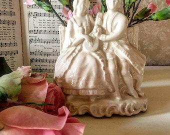 Romantic Couple Cream Colored Pottery Planter